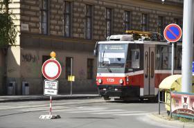 Uzavřená Údolní ulice v Brně