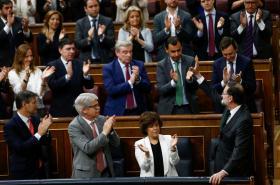 Mariano Rajoy ve španělském parlamentu těsně před vyslovením nedůvěry jeho vládě