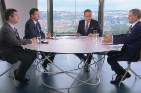Jan Hamáček (ČSSD), Petr Fiala (ODS) a Radek Vondráček (ANO) v OVM