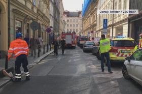 Zřícená budova v Mikulandské ulici v Praze