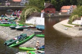 Českokrumlovské nábřeží před a po zákazu vynášet lodě z vody