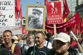 Demonstrace ruských komunistů proti důchodové reformě