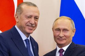 Recep Tayyip Erdogan a Vladimir Putin po jednání v Soči