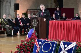 Prezident Miloš Zeman při projevu před udílením státních vyznamenání