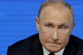 Ruský prezident Vladimir Putin na výroční tiskové konferenci