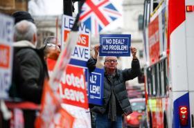 Stoupenci brexitu v ulicích Londýna