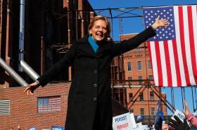 Elizabeth Warrenová při zahájení své kampaně