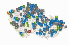 Mapa sledovaných rybníků a koupališť