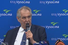 Miloš Zeman na tiskové konferenci v závěru návštěvy Kraje Vysočina