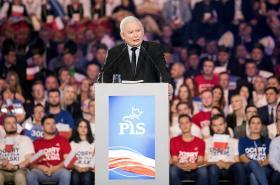 Jaroslaw Kaczynski během předvolební kampaně
