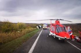 Vrtulník na místě nehody