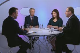 Jana Maláčová (ČSSD), Marian Jurečka (KDU-ČSL) a ekonom Štěpán Jurajda