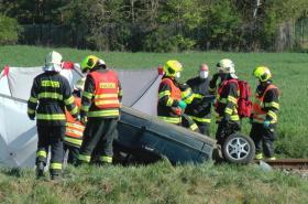 Nehoda na přejezdu u Nýřan na Plzeňsku