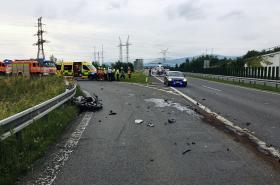 Nehoda motocyklu v Dobré u Frýdku-Místku
