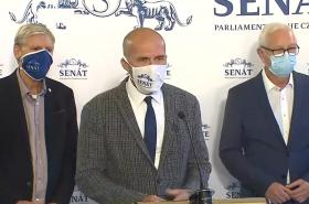Místopředseda Senátu Jan Horník, předseda klubu STAN Petr Holeček a senátor Jiří Drahoš