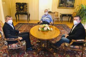 Andrej Babiš a Jan Hamáček na schůzce s prezidentem Milošem Zemanem v Lánech