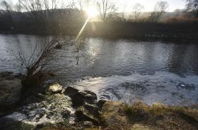 Pěna v řece Bečvě