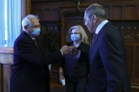 Josep Borrell se Sergejem Lavrovem na návštěvě Moskvy