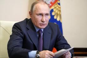 Ruský prezident Vladimir Putin během videokonference