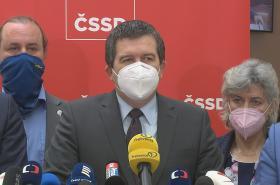 Ministr vnitra Jan Hamáček na tiskové konferenci