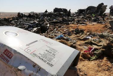 Místo pádu letadla na Sinaji