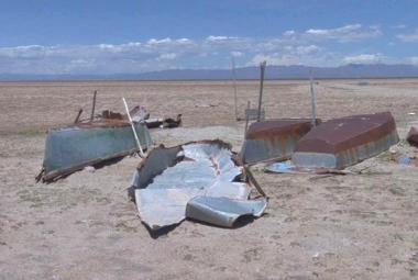Vyschlé bolivijské jezero Poopó