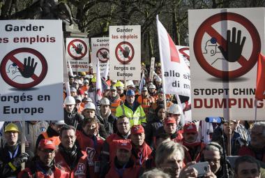 Demonstrace ocelářů v Bruselu
