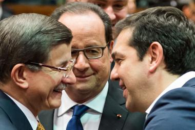 Ahmet Davutoglu, Francoise Hollande a Alexis Tsipras