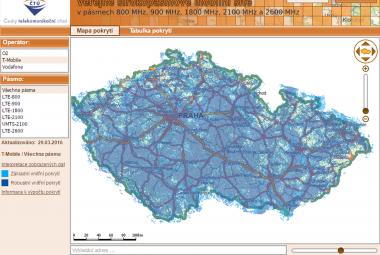 Mapa pokrytí signálu