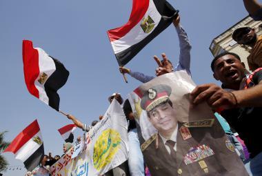 Demonstrace Sisího příznivců v Káhiře