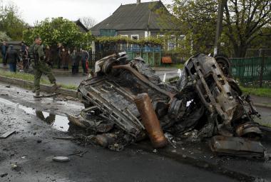 Následky bojů na Donbasu