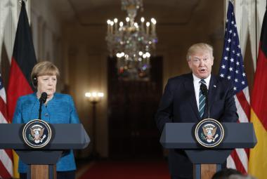 Angela Merkelová a Donald Trump na společné tiskové konferenci