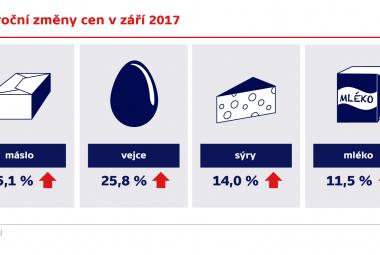 Meziroční změny cen v září 2017