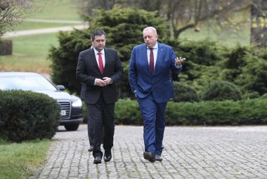 Jan Hamáček a Milan Chovanec po schůzce s prezidentem