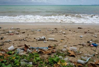 Pláž v Thajsku plná plastových odpadků