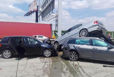 Nehoda na pražském okruhu v oblasti Řeporyj