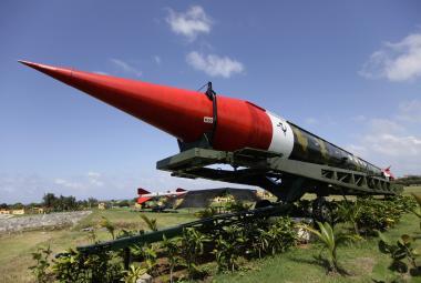 Sovětská raketa SS-4 vystavená v kubánské Havaně
