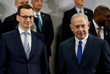 Polský premiér Mateusz Morawiecki  a izraelský premiér Benjamin Netanjahu