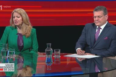 Debata Zuzany Čaputové a Maroše Šefčoviče