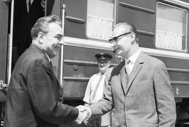 Leonid Brežněv a Alexandr Dubček