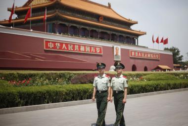 Hlídka na náměstí Tchien-an-men