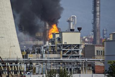 Požár v litvínovské chemičce Unipetrol