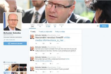 Napadený twitterový účet premiéra Bohuslava Sobotky