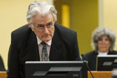 Radovan Karadžić před soudem v roce 2014