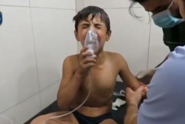Snímek zveřejněný 6. září  na sociálních sítích po údajném útoku chlorem v Aleppu