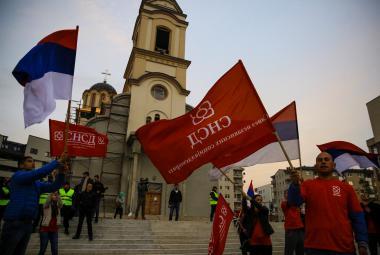 Příznivci prezidenta Dodika během referenda