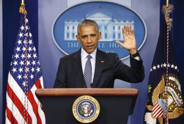 Barack Obama při projevu před svou poslední zahraniční cestou