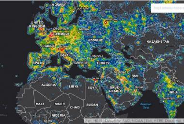 3D mapa světelného znečištění