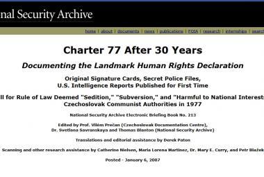 Dokumenty o Chartě 77 na webu Archivu NSA