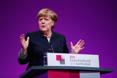 Merkelová při projevu v Kolíně nad Rýnem